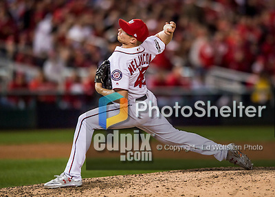 13 October 2016: Washington Nationals pitcher Mark Melancon on the mound during Game 5 of the NLDS against the Los Angeles Dodgers at Nationals Park in Washington, DC. The Dodgers edged out the Nationals 4-3, to take Game 5 of the Series, 3 games to 2, and move on to the National League Championship Series against the Chicago Cubs. Mandatory Credit: Ed Wolfstein Photo *** RAW (NEF) Image File Available ***