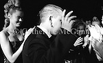March 1996:  Alexander McQueen's first fashion show in New York.  The collection was shown in a former synagogue on Norfolk Street (now the Angel Orensanz Foundation Center for the Arts) on the Lower East side in New York City, New York.  Here McQueen waves to the audience at the end of the show.