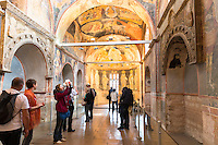 Visitors in The Church of St Saviour in Chora, Kariye Museum or St Savior in Istanbul, Republic of Turkey