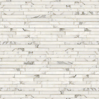 Staggered Stalks, a hand-cut stone mosaic, shown in polished Calacatta Tia.
