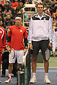 (L to R) Kei Nishikori (JPN),  Ivo Karlovic (HRV), FEBRUARY 10, 2012 - Tennis : Davis Cup 2012, World Group First Round match Japan 1-1 Croatia at Bourbon Beansdome, Hyogo, Japan. (Photo by Akihiro Sugimoto/AFLO SPORT) [1080]