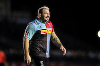 Joe Marler of Harlequins is all smiles after the match. Aviva Premiership match, between Harlequins and Sale Sharks on November 6, 2015 at the Twickenham Stoop in London, England. Photo by: Patrick Khachfe / Onside Images