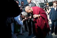 His Holiness, The Dalai Lama pauses to bless an elderly woman during the Vancouver Peace Summit, held at the Chan Center for the Performing Arts, Sept 27, 2009, at the University of British Columbia campus in Vancouver. (Scott Alexander/pressphotointl.com)