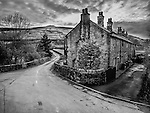 Row of pennine cottages in Marsden Yorkshire