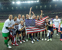 London, England - Thursday, August 9, 2012: The USA defeated Japan 2-1 to win the London 2012 Olympic gold medal at Wembley Arena. The USA celebrates. .