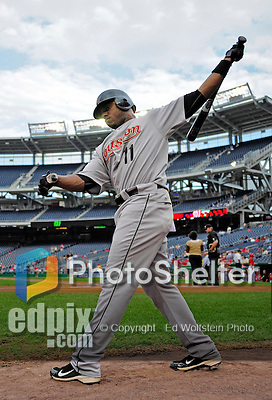 23 September 2010: Houston Astros outfielder Jason Bourgeois takes a practice swing in the on-deck circle prior to leading off against the Washington Nationals at Nationals Park in Washington, DC. The Nationals defeated the Astros 7-2 for their third consecutive win, taking the series three games to one. Mandatory Credit: Ed Wolfstein Photo