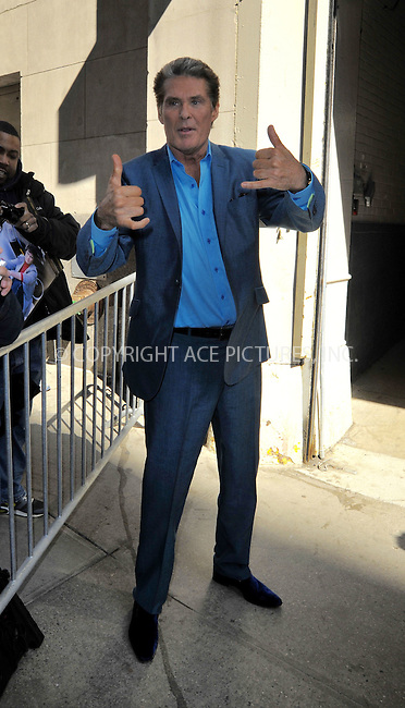 WWW.ACEPIXS.COM<br /> <br /> March 23 2015, New York City<br /> <br /> Actor David Hasselhoff made an appearance at 'The Huffington Post' on March 23 2015 in New York City.<br /> <br /> <br /> Please byline: Curtis Means/ACE Pictures<br /> <br /> ACE Pictures, Inc.<br /> www.acepixs.com, Email: info@acepixs.com<br /> Tel: 646 769 0430