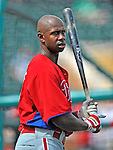 9 March 2012: Philadelphia Phillies outfielder Juan Pierre awaits his turn in the batting cage prior to a Spring Training game against the Detroit Tigers at Joker Marchant Stadium in Lakeland, Florida. The Phillies defeated the Tigers 7-5 in Grapefruit League action. Mandatory Credit: Ed Wolfstein Photo