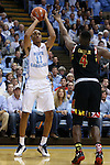 01 December 2015: North Carolina's Brice Johnson (11) and Maryland's Robert Carter (4). The University of North Carolina Tar Heels hosted the University of Maryland Terrapins at the Dean E. Smith Center in Chapel Hill, North Carolina in a 2015-16 NCAA Division I Men's Basketball game. UNC won the game 89-81.