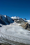 Switzlerland: Hiking the Swiss Glaciers near St. Moritz, taking the Diavolezza Morteratsch hike..Pers Glacier..Photo copyright Lee Foster, 510/549-2202, lee@fostertravel.com, www.fostertravel.com..Photo #: swisse11661