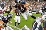 Denver Broncos quarterback Jay Cutler (6) dives into the end zone for a touchdown during the first quarter of an NFL pre-season football  game at Reliant Stadium. Saturday, Aug. 9, 2008, in Houston. ( Steve Campbell / Chronicle)