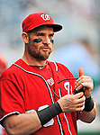 25 September 2011: Washington Nationals outfielder Jonny Gomes walks the dugout prior to a game against the Atlanta Braves at Nationals Park in Washington, DC. The Nationals shut out the Braves 3-0 to take the rubber match third game of their 3-game series - the Nationals' final home game for the 2011 season. Mandatory Credit: Ed Wolfstein Photo