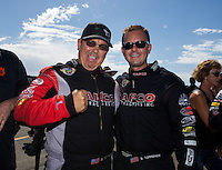 Jul. 27, 2014; Sonoma, CA, USA; NHRA top fuel driver Billy Torrence (left) and his son, Steve Torrence during the Sonoma Nationals at Sonoma Raceway. Mandatory Credit: Mark J. Rebilas-