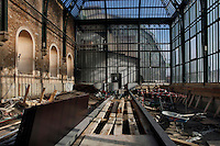 New Caledonia Glasshouse (formerly The Mexican Hothouse), 1830s, Charles Rohault de Fleury, Jardin des Plantes, Museum National d'Histoire Naturelle, Paris, France.  Low angle view of the interior during renovation. The New Caledonia Glasshouse, or Hothouse, was the first French glass and iron building.