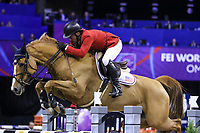 OMAHA, NEBRASKA - MAR 31: Todd Minikus rides Babalou during the FEI World Cup Jumping Final II at the CenturyLink Center on March 31, 2017 in Omaha, Nebraska. (Photo by Taylor Pence/Eclipse Sportswire/Getty Images)