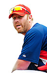 9 March 2010: Washington Nationals' first baseman Adam Dunn awaits his turn in the batting cage prior to a Spring Training game against the Detroit Tigers at Space Coast Stadium in Viera, Florida. The Tigers defeated the Nationals 9-4 in Grapefruit League action. Mandatory Credit: Ed Wolfstein Photo