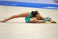 Nadiya Vasina of Ukraine flexibility finishes with rope during qualifications at 2006 Deriugina Cup Grand Prix in Kiev, Ukraine on March 17, 2006. (Photo by Tom Theobald)