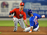 5 March 2012: Washington Nationals infielder Zachary Walters gets Ronny Cedeno out at second during a Spring Training game against the New York Mets at Digital Domain Park in Port St. Lucie, Florida. The Nationals defeated the Mets 3-1 in Grapefruit League play. Mandatory Credit: Ed Wolfstein Photo