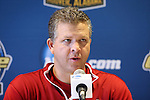 09 December 2012: Indiana head coach Todd Yeagley during the postgame press conference. The Georgetown University Hoyas played the Indiana University Hoosiers at Regions Park Stadium in Hoover, Alabama in the 2012 NCAA Division I Men's Soccer College Cup Final. Indiana won the game 1-0.