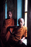 Novice monks at Buddhist temple in Mirissa.