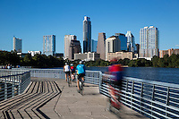 The Boardwalk Trail Bridge scenic skyline view over Lady Bird Lake - Stock Photo Image Gallery