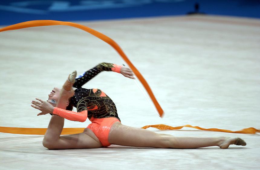 Sep 29, 2000; SYDNEY, AUSTRALIA:<br /> Evmorphia Dona of Greece performs with ribbon during rhythmic gymnastics qualifying at 2000 Summer Olympics.  <br /> Photo by Tom Theobald/ZUMA Press.