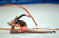 Sep 29, 2000; SYDNEY, AUSTRALIA:<br /> Evmorphia Dona of Greece performs with ribbon during rhythmic gymnastics qualifying at 2000 Summer Olympics.  <br /> Photo by Tom Theobald/ZUMA Press.