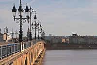 The old Pont de Pierre Bridge. Bordeaux city, Aquitaine, Gironde, France