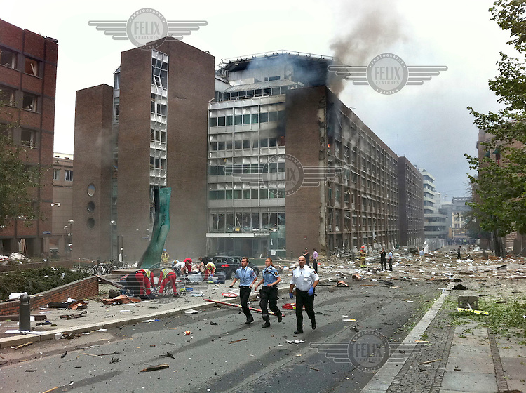 (July22,2011) A man is treated for injuries received after a large vehicle bomb was detonated near the offices of Norwegian Prime Minister Jens Stoltenberg on 22 July 2011. Although Stoltenberg was reportedly unharmed the blast resulted in several injuries and deaths. <br />