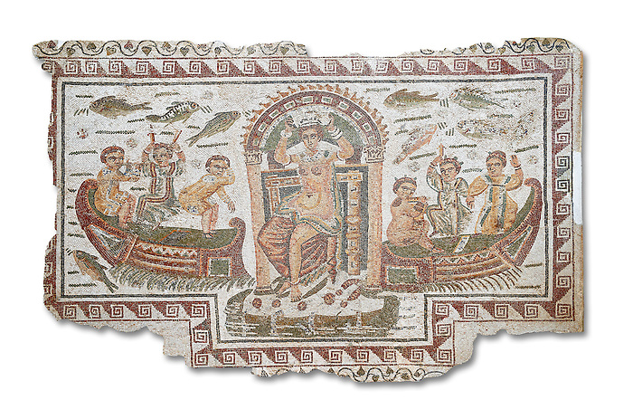 Late 4th century AD Roman mosaic panel of  Venus, Aphrodite, on a boat crowning herself accompanied by six dwarfs. From Cathage, Tunisia.  The Bardo Museum, Tunis, Tunisia. White background
