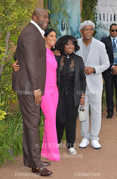 LOS ANGELES, CA. June 27, 2016: Earvin Magic Johnson &amp; wife Cookie Johnson with actor Samuel L. Jackson &amp; wife actress LaTanya Richardson Jackson at the world premiere of &quot;The Legend of Tarzan&quot; at the Dolby Theatre, Hollywood.<br /> Picture: Paul Smith / Featureflash