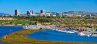 "Fashion Island, Newport Beach, Skyline,  Southern California, Shopping Mall, Upper Newport Bay "" The Back Bay"" large coastal wetland in Southern California and a major stopover for birds, panorama CGI Backgrounds, ,Beautiful Background"