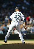 04 October 2009: Seattle Mariners relief pitcher #43 Miguel Batista came in for relief in the 8th inning against the Texas Rangers. Seattle won 4-3 over the Texas Rangers at Safeco Field in Seattle, Washington.