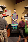 "A replica of a terracotta warrior with original paint; The ""Terra Cotta Warriors: The Emperor's Painted Army,"" Exhibit directly from Xian in the Shaanxi Province, China debuted in 2014 at the Children's Museum, Indianapolis, Indiana, USA"