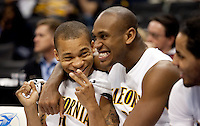Jerome Randle and Patrick Christopher on the bench. The California Golden Bears defeated the Oregon Duck 90-74 during the Pacific Life Pac-10 Conference Tournament at Staples Center in Los Angeles, California on March 11th, 2010. The Bears will face UCLA tomorrow at 6pm PST.