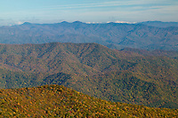 Afternoon view from Clingman's Dome of mountain slopes covered by fall foliage, Great Smoky Mountains National Park
