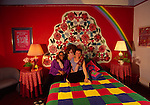 Flower Child Room at Red Victorian Inn near Golden Gate Park in Haight Ashbury District of San Francisco