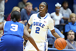 17 November 2012: Duke's Alexis Jones (2) and Sherece Smith (3). The Duke University Blue Devils played the Presbyterian College Blue Hose at Cameron Indoor Stadium in Durham, North Carolina in an NCAA Division I Women's Basketball game. Duke won the game 84-45.