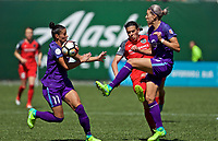 Portland, OR - Saturday April 15, 2017:  Alanna Kennedy, Ali Krieger and Christine Sinclair during a regular season National Women's Soccer League (NWSL) match between the Portland Thorns FC and the Orlando Pride at Providence Park.