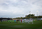 Forest Green Rovers 0 Tranmere Rovers 2, 17/10/2015, New Lawn, National League. The two teams are introduced to the crowd at the crowd at the New Lawn, home to Forest Green Rovers, prior to their match against Tranmere Rovers (in white) in the National League. The club is based in the village of Nailsworth in Gloucestershire and is owned by businessmen Dale Vince who doesn't allow meat products to be sold to supporters in the ground. The visitors from Merseyside won this game by 2-0 but the hosts remained top of the division. Photo by Colin McPherson.