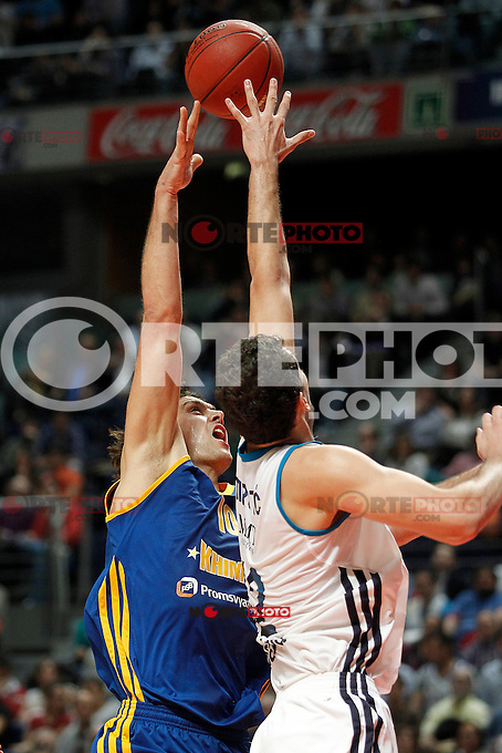 Real Madrid's Nikola Mirotic (r) and BC Khimki MR's Kresimir Loncar during Euroleague 2012/2013 match.November 23,2012. (ALTERPHOTOS/Acero) /NortePhoto