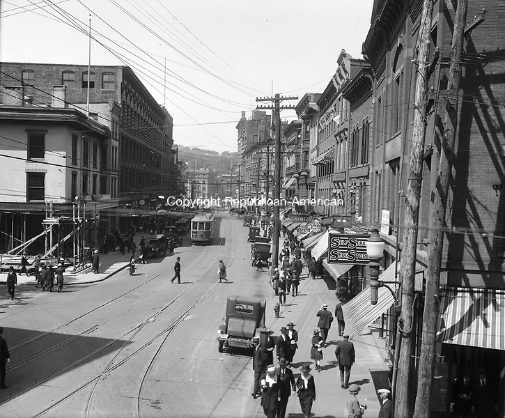 View of Bank Street looking toward Exchange Place.  To the left is Grand Street.