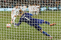 Melbourne, 21 July 2015 - Iago Falque of AS Roma kicks a penalty past Joe Hart of Manchester City in game two of the International Champions Cup match at the Melbourne Cricket Ground, Australia. City def Roma 5-4 in Penalties. (Photo Sydney Low / AsteriskImages.com)
