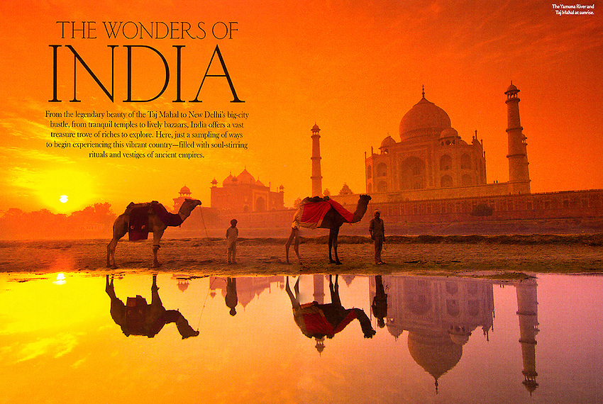 Spread showing the Yamuna River and the Taj Mahal in Agra, India in the January/February 2013 issue of AAA Living Magazine. Photo by Blaine Harrington III.