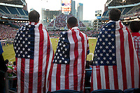USA fans watch the USA Men's National Team's World Cup Qualifier against Panama at Century Link Field in Seattle, WA on June 11, 2013.
