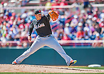 7 March 2016: Miami Marlins pitcher Jose Fernandez on the mound during a Spring Training pre-season game against the Washington Nationals at Space Coast Stadium in Viera, Florida. The Nationals defeated the Marlins 7-4 in Grapefruit League play. Mandatory Credit: Ed Wolfstein Photo *** RAW (NEF) Image File Available ***