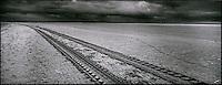Europe/France/Picardie/80/Somme/Baie de Somme/le Crotoy: Paysage de la Baie de Somme - Trace des tracteurs des myticulteurs qui sont partis chercher leurs moules de bouchot en baie de Somme