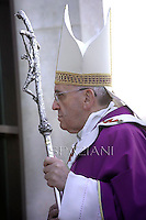 Pope Francis during his pastoral visit at roman parish of Santa Maria dell'Orazione in Guidonia Montecelio near Rome on March 16, 2014.