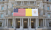 US and Papal flags on display on the Eisenhower Executive Office Building in Washington, DC as the United States hosts a visiting Pope Francis on Wednesday, September 23, 2015.  <br /> Credit: Chris Kleponis / CNP