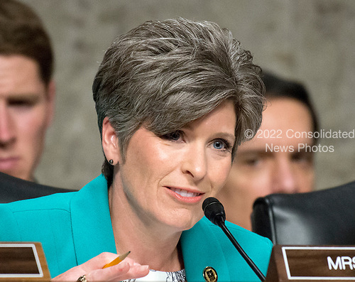 United States Senator Joni Ernst (Republican of Iowa) questions US Department of Defense appointees as they testify on their respective nominations before the US Senate Armed Services Committee on Capitol Hill in Washington, DC on May 9, 2017.<br /> Credit: Ron Sachs / CNP